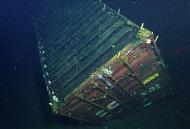 A shipping container after seven years on the seafloor.