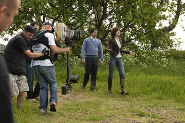 Patrick Dempsey and Michelle Monaghan on the set of Columbia Pictures' Made of Honor