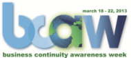 Business Continuity Planning – 5 Top Tips for Transitioners image bcaw2013