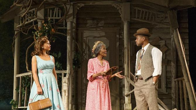 "This theater publicity image released by The Hartman Group shows Vanessa Williams, left, Cicely Tyson, center, and Cuba Gooding Jr., during a performance of ""The Trip to Bountiful"" at the Stephen Sondheim Theatre in New York. (AP Photo/The Hartman Group, Joan Marcus)"