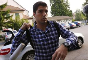 Uruguayan striker Suarez arrives for a hearing at the Court of Arbitration for Sport in Lausanne