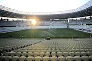 The Castelao arena in the Brazilian city of Fortaleza, pictured here on December 10, 2012. President Dilma Rousseff travels Sunday to Fortaleza to inaugurate the first Brazilian stadium readied for the 2014 World Cup
