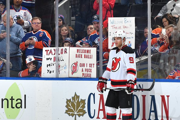 EDMONTON, AB - JANUARY 12: Taylor Hall #9 of the New Jersey Devils warms up prior to the game against the Edmonton Oilers on January 12, 2017 at Rogers Place in Edmonton, Alberta, Canada. (Photo by Andy Devlin/NHLI via Getty Images)