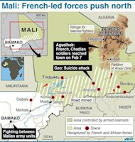 Map of Mali showing latest developments in the conflict. A suicide bomber blew himself up in northern Mali as a dramatic turn towards guerrilla tactics by Islamists and an outbreak of fighting among soldiers in the capital show the war is far from won for the embattled nation