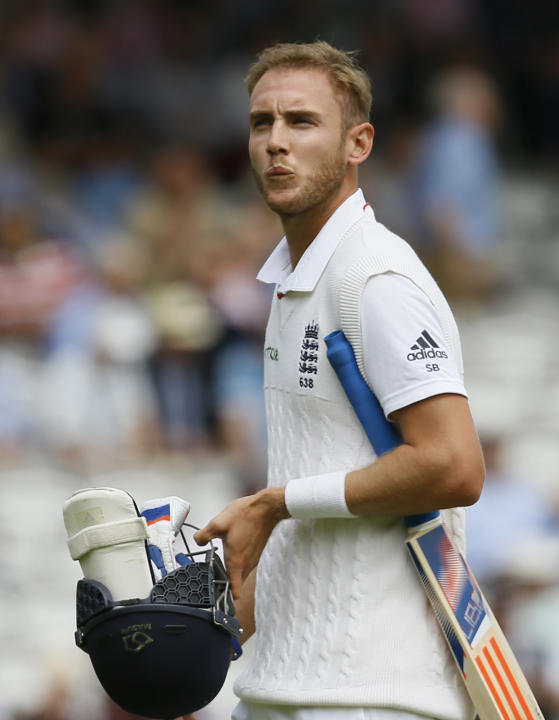 England's Stuart Broad walks off the pitch after being given out caught behind off the bowling of New Zealand's Trent Boult during play on the second day of the first Test match at Lord's