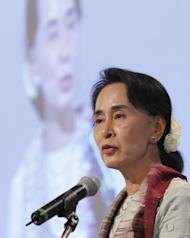 Myanmar's opposition leader, Aung San Suu Kyi speaks during a press conference of The Global Development Summit, held on the sidelines of the 10th Special Olympics World Winter Games in Pyeongchang, on January 30, 2013. Suu Kyi appealed against the social isolation of the mentally disabled