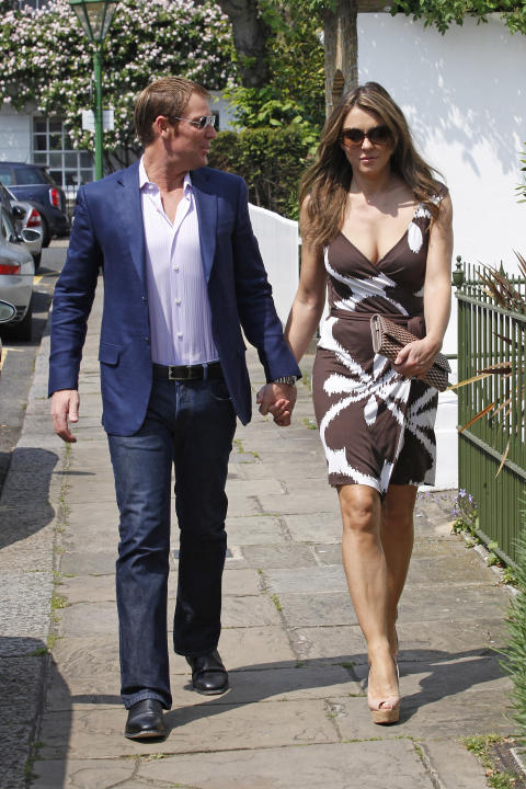 Elizabeth Hurley and Shane Warne Sighting In London - May 24, 2012