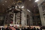 Pope Francis celebrates the Christmas night mass in the Saint Peter's Basilica at the Vatican December 24, 2013. REUTERS/Tony Gentile