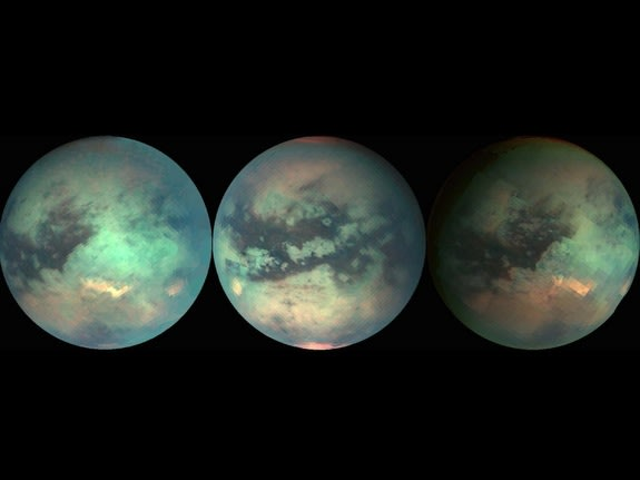 Mosaics composed with data from the Cassini spacecraft taken during three separate Titan flybys.