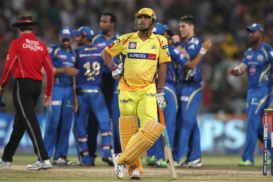 Chennai Super Kings captain MS Dhoni looks on as another wicket falls during the Final of the Pepsi Indian Premier League between The Chennai Superkings and the Mumbai Indians held at the Eden Gardens