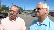 Darrell Dexter and Sterling Belliveau campaigned together Monday.