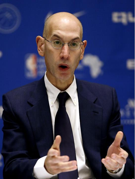 NBA Commissioner Adam Silver speaks during a media briefing for the Basketball without Borders Africa 2015 at the American International School in Johannesburg, South Africa, Thursday, July 30, 2015.