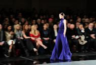 A model walks the runway during the Jason Wu fall 2013 fashion show during Mercedes-Benz Fashion Week on February 8, 2013 in New York City