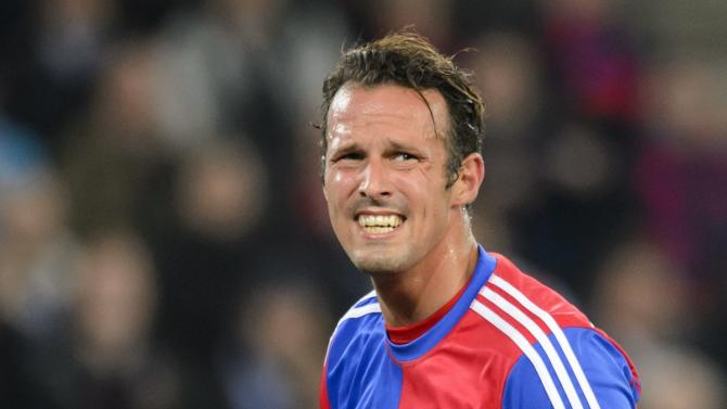 Basel's Marco Streller reacts, during the Champions League group E group stage soccer match between Switzerland's FC Basel and Germany's FC Schalke 04 at the St. Jakob-Park stadium in Basel, Switzerland, Tuesday, Oct. 1, 2013