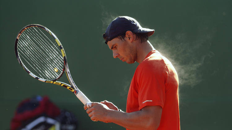 Spain's Rafael Nadal practices during a training session at Manacor tennis club in Mallorca