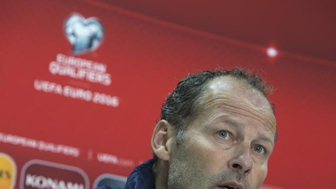Netherlands' head coach Danny Blind attends a news conference at the Astana Arena stadium in Astana, Kazakhstan
