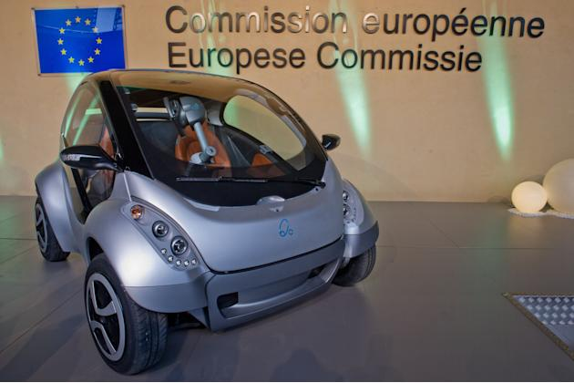 Hiriko Electric Car Is Launched At The European Motor Show