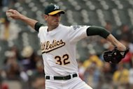 Oakland Athletics pitcher Brandon McCarthy during the game against the Los Angeles Angels on September 5. He has left hospital less than a week after he was hit in the head by a line drive and needed surgery to relieve pressure on his brain, his team said
