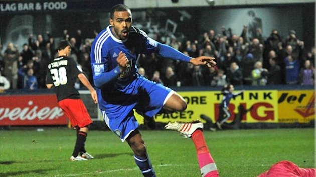Macclesfield Town's Matthew Barnes-Homer celebrates scoring their winning goal Macclesfield Town v Cardiff City