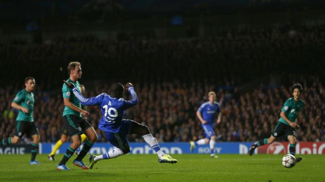 Chelsea's Ba scores a goal against FC Schalke 04 during Champions League soccer match at Stamford Bridge in London