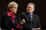 """Jennifer Granholm, left, former Michigan Governor and host of the new television show """"The War Room with Jennifer Granholm,"""" and Al Gore, Former Vice President and Current TV Chairman and Co-Founder, participates in the Current TV portion of the Television Critics Association Winter Press Tour in Pasadena , Calif. on Friday, Jan. 13, 2012. (AP Photo/Danny Moloshok)"""
