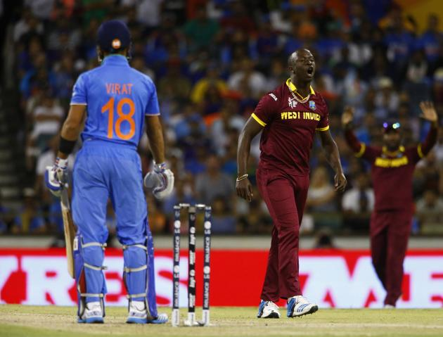 West Indies bowler Kemar Roach appeals unsuccessfully for a caught behind on India's batsman Virat Kohli during their Cricket World Cup match in Perth