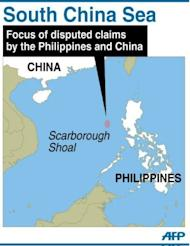 Map showing Scarborough Shoal in the South China Sea, focus of a disputed claims by the Philippines and China