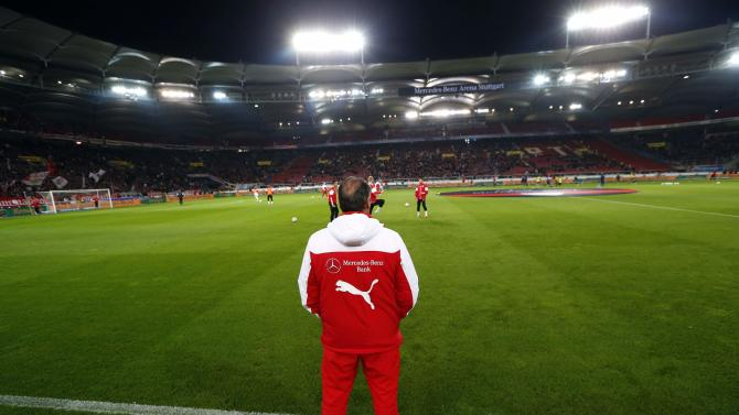 VfB Stuttgart's coach Stevens stands on the pitch prior to their German first division Bundesliga soccer match against Hertha Berlin in Stuttgart