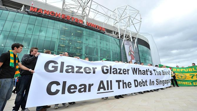 An anti-Glazer protest is held outside Old Trafford