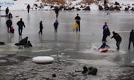 Ice Lake Rescue Drama Captured On Video