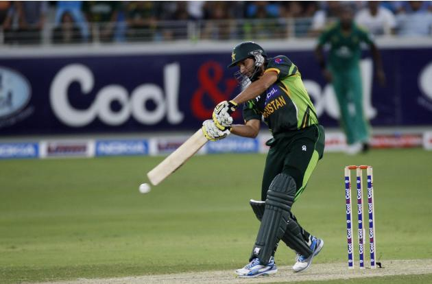 Pakistan's Shahid Afridi plays a shot during their first Twenty20 international cricket match against South Africa in Dubai