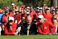 """Jack Nicklaus (C) at the 39th Ryder Cup at Medinah Country Club in September. """"Jack Nicklaus won 18 Majors and I now have my name on two, so targeting the Majors will still be my main focus next season,"""" Rory McIlroy said"""