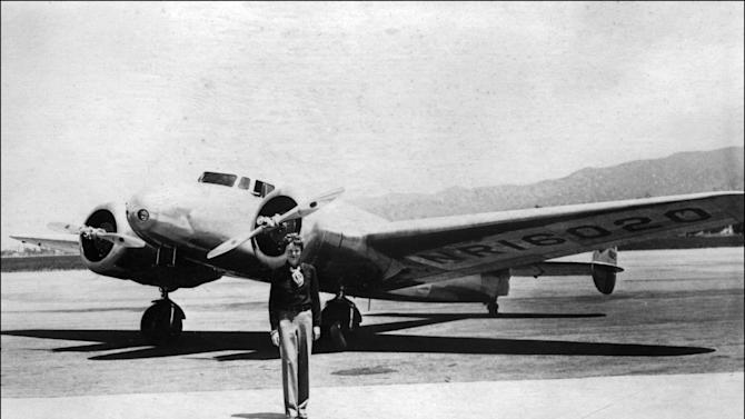 US aviator Amelia Earhart pictured in front of her plane in the 1930s