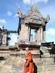 A Cambodian Buddhist monk is seen near the Preah Vihear temple in Preah Vihear province, north of Phnom Penh, along the border with Thailand, on November 7, 2008. Thailand and Cambodia are to face off at the UN's highest court Monday in a dispute over land surrounding the temple that has seen deadly clashes along their joint border