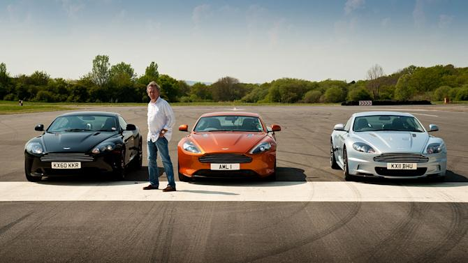 """James May prepares to drag race the new Aston Martin Virage against the Aston Martin DBS and DBS and DB9 as seen in """"Top Gear."""""""