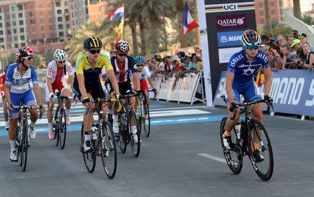 Paz Bash of Israel crosses the finish line during Women Elite Road Race in the UCI Road World Championships 2016, in Doha