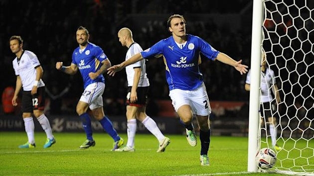Leicester City's Ignasi Miquel celebrates after scoring his sides third goal against Fulham.