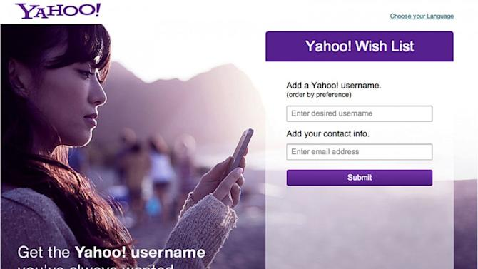 Get the Yahoo Email Address of Your Dreams at Yahoo's Wishlist Site