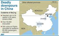 Map of China locating the areas hit by heavy rainfall that have left dozens killed at the weekend, according to state media