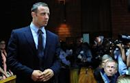 South African Paralympic icon and murder suspect Oscar Pistorius appears at court in Pretoria on February 22, 2013. Pistorius on Saturday said he was thankful for prayers offered to his family and that of his slain girlfriend, a day after he was freed on bail