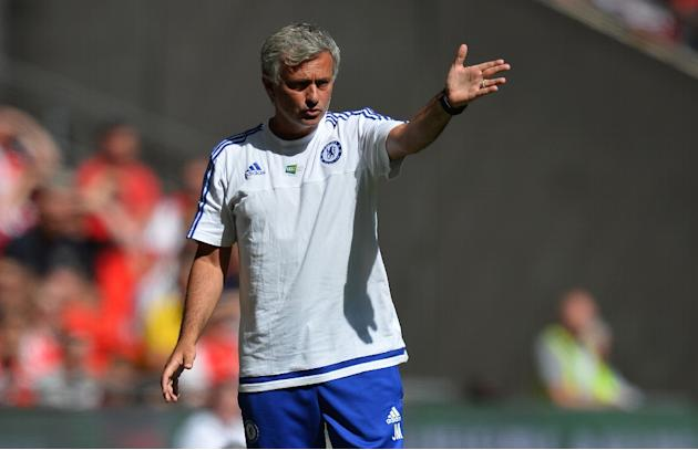 Chelsea's Portuguese manager Jose Mourinho gestures during the FA Community Shield football match between Arsenal and Chelsea at Wembley Stadium in north London on August 2, 2015