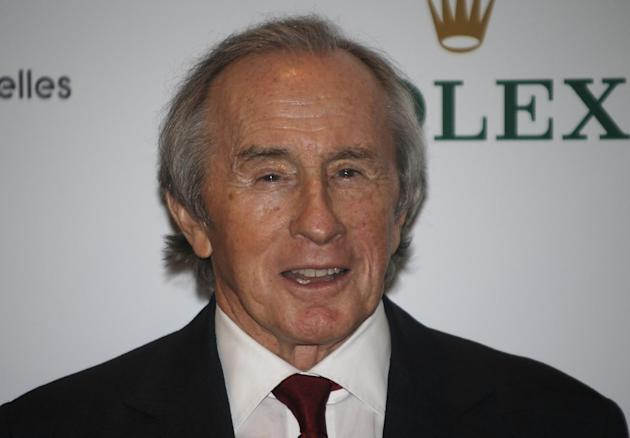 "FILE - In this Monday Dec. 16, 2013 file photo, former F1 driver Jackie Stewart arrives for the screening of ""Weekend of a Champion"", in Monaco. Formula One great Jackie Stewart has bemoaned"