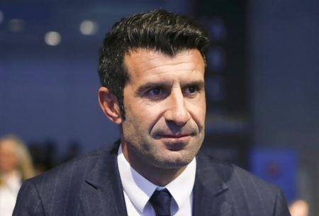 Former soccer player Figo of Portugal attends the UEFA congress in Vienna