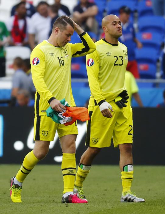 Republic of Ireland's Shay Given and Darren Randolph walk off at the end of the match