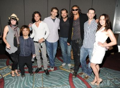 """Lena Headey, Peter Dinklage and Kit Harington, writer David Benioff, actors Nikolaj Coster-Waldau and Jason Momoa, writer/producer D.B. Weiss and actress Emilia Clarke pose at HBO's """"Game Of Thrones"""" panel during Comic-Con 2011 on July 21, 2011 in San Diego -- Getty Images"""