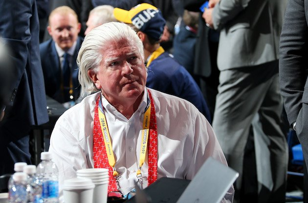 BUFFALO, NY - JUNE 24: President of Hockey Operations for the Calgary Flames Brian Burke attends round one of the 2016 NHL Draft on June 24, 2016 in Buffalo, New York. (Photo by Bruce Bennett/Getty Images)