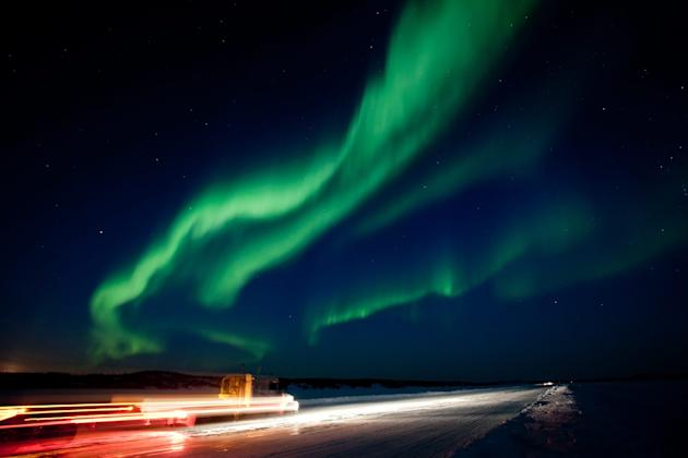 The largest solar storm in five years sent a huge wave of radiation into earth's atmosphere creating a brilliant show of the aurora borealis near Yellowknife, North West Territories on Thursday March