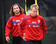 Czech Republic players Petr Jiracek (L) and Daniel Kolar walk to the mixed zone after a training session in Wroclaw, Poland, on June 14. Czech players are refusing to shave during Euro 2012 in the hope that it will bring them luck, a source close to the team told AFP on Friday, as Michal Bilek's men gear up for a must-win match against Poland
