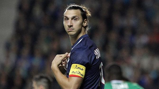 Paris Saint Germain's Zlatan Ibrahimovic gestures during their French League One soccer match against Saint-Etienne, in Saint-Etienne, central France, Sunday, Oct. 27, 2013