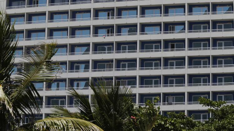 A view of the Royal Tulip hotel in front of Sao Conrado beach in Rio de Janeiro